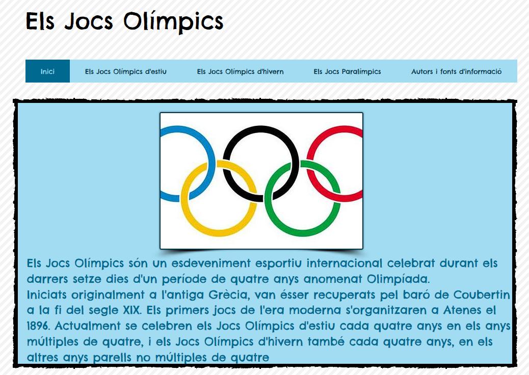 Exemple de pàgina web sobre els JJOO creada amb Wix.com
