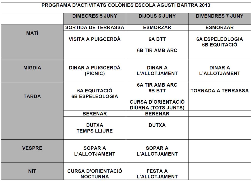 Colònies esportives a Queixans 2014