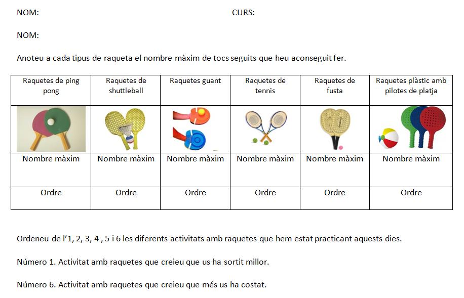 Fem servir diferents tipus de raquetes
