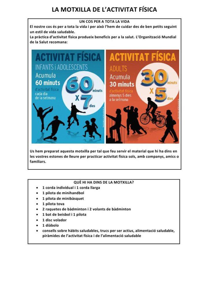 La motxilla de l'activitat física